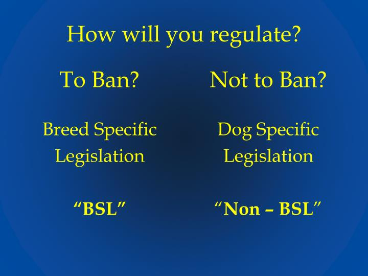 How will you regulate?