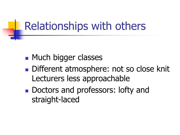 Relationships with others
