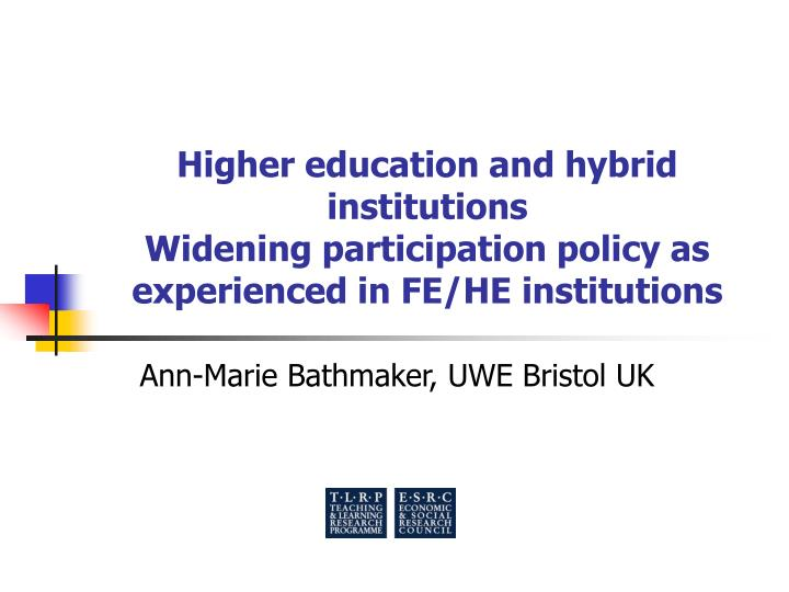 Higher education and hybrid institutions
