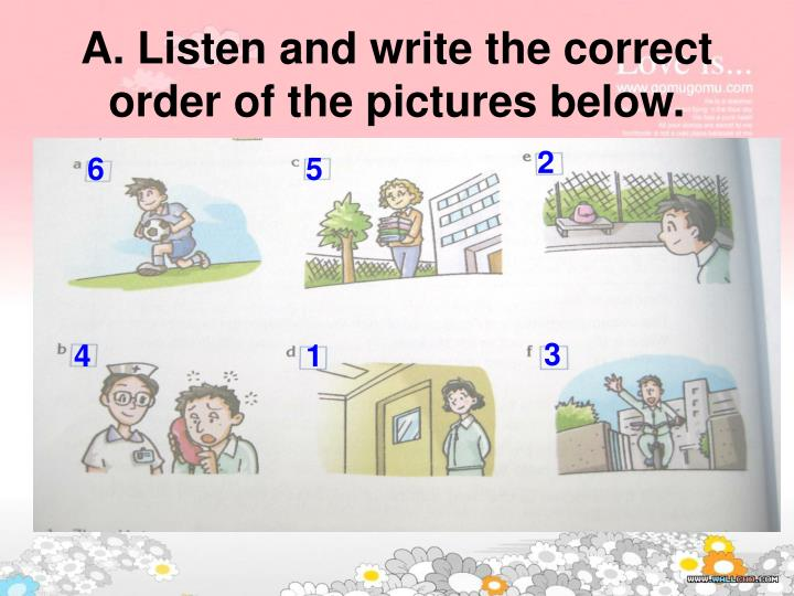 A. Listen and write the correct order of the pictures below.