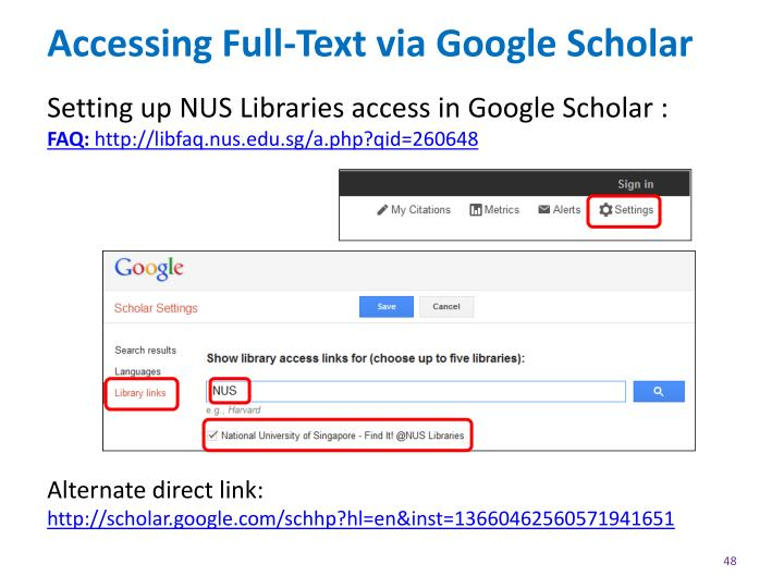 Accessing Full-Text via Google Scholar