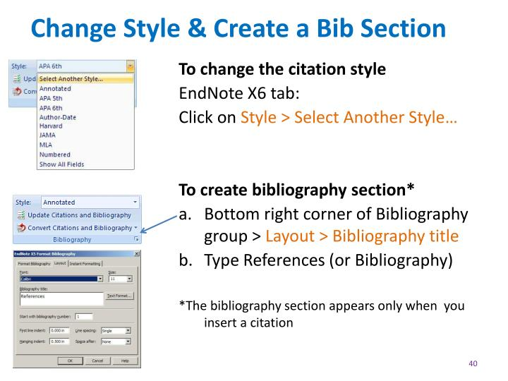 Change Style & Create a Bib Section
