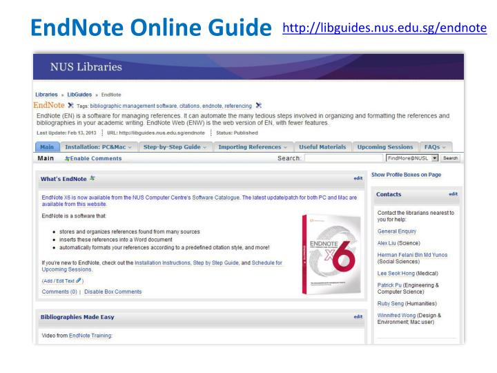 EndNote Online Guide