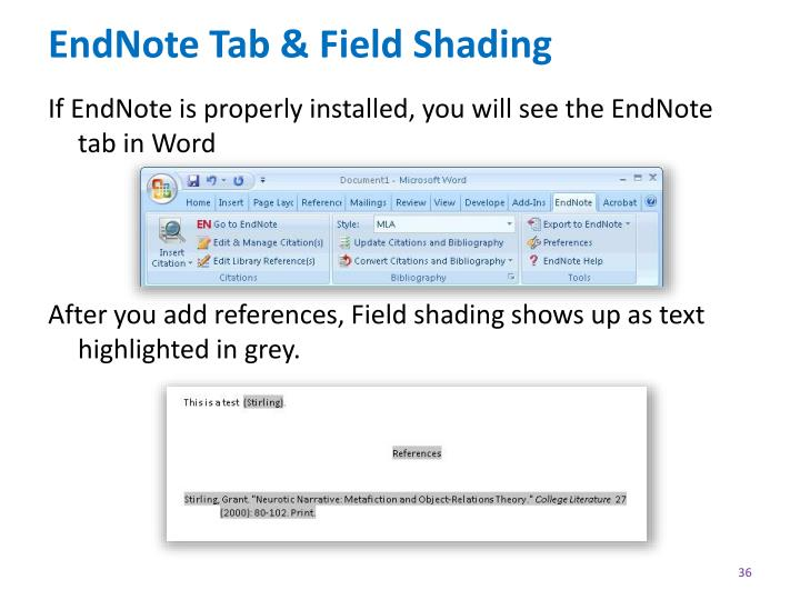 EndNote Tab & Field Shading