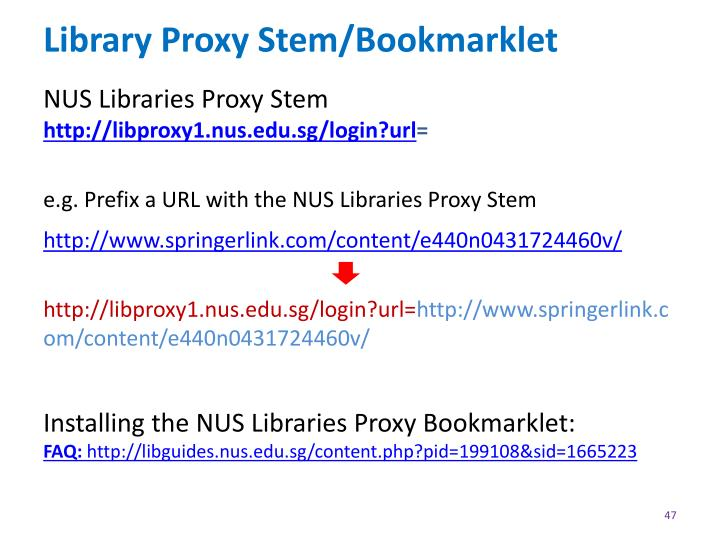 Library Proxy Stem/Bookmarklet