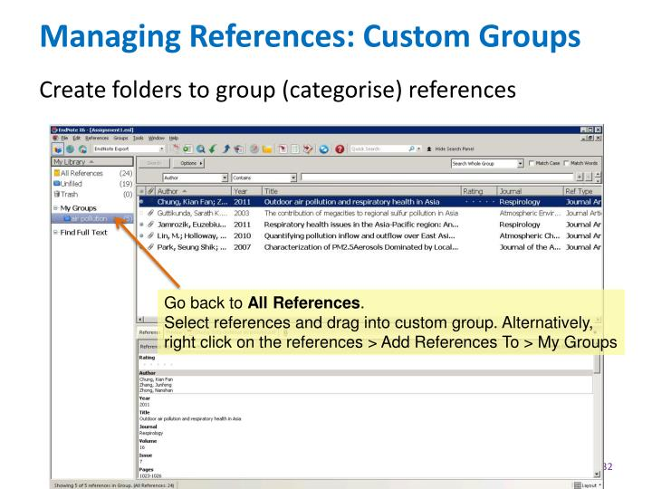 Managing References: Custom Groups