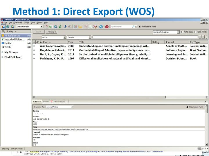 Method 1: Direct Export (WOS)