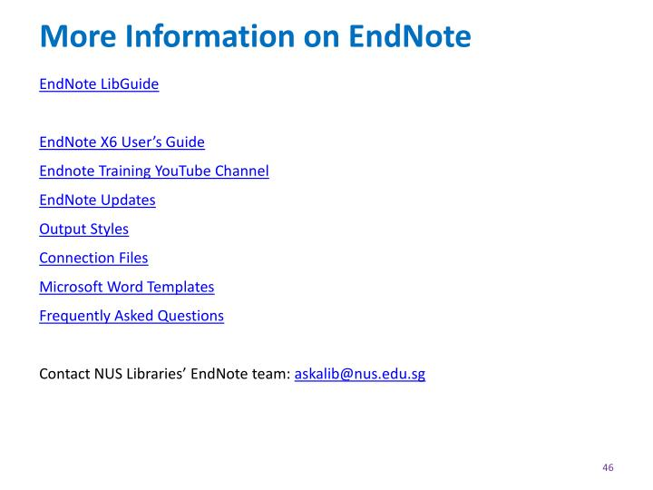 More Information on EndNote