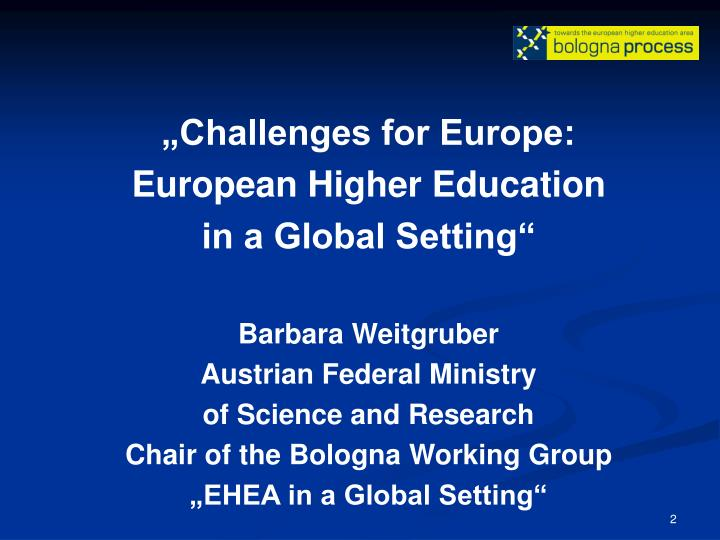 """Challenges for Europe:"