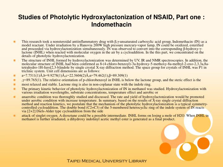 Studies of photolytic hydroxylactonization of nsaid part one indomethacin