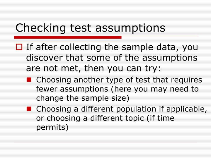 Checking test assumptions
