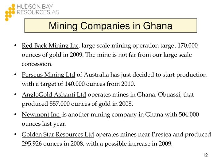 Mining Companies in Ghana