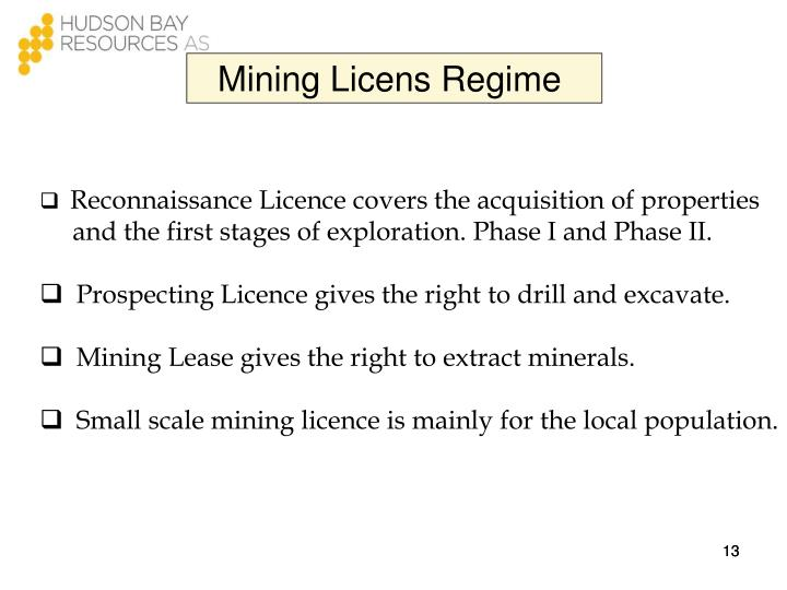 Mining Licens Regime