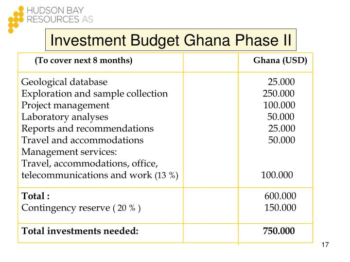 Investment Budget Ghana Phase II