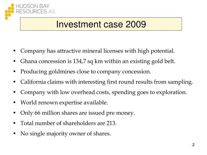 Investment case 2009