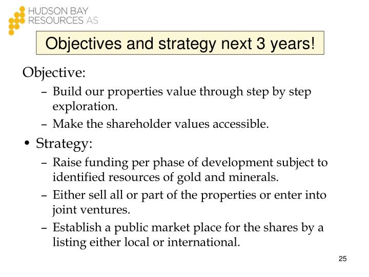 Objectives and strategy next 3 years!
