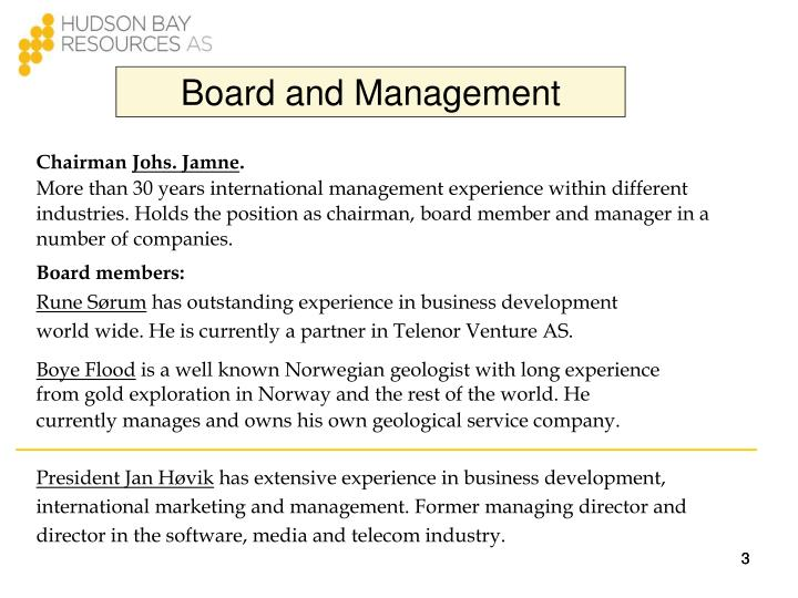 Board and Management