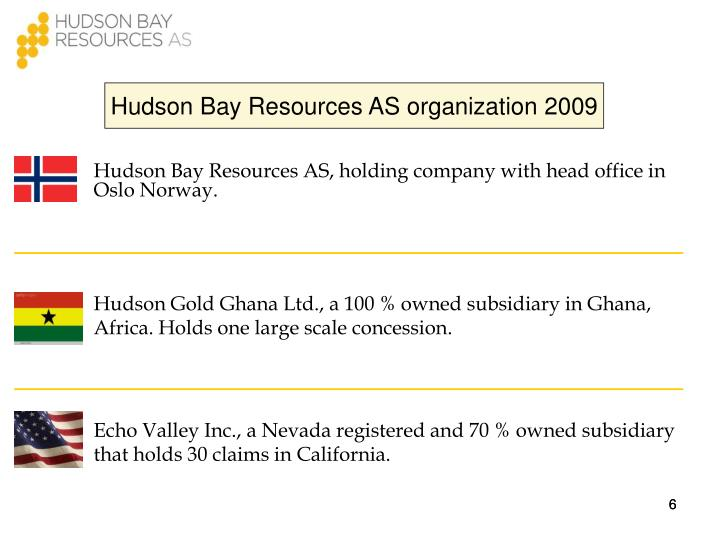 Hudson Bay Resources AS organization 2009