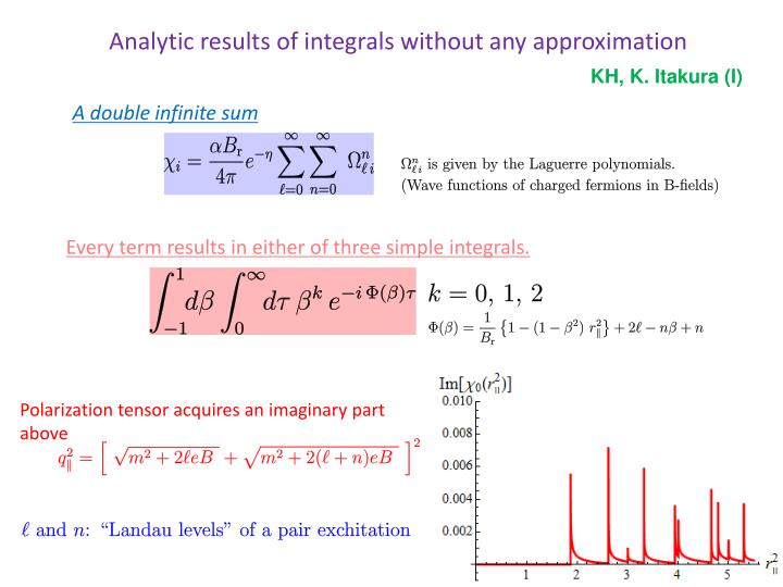 Analytic results of integrals without any approximation