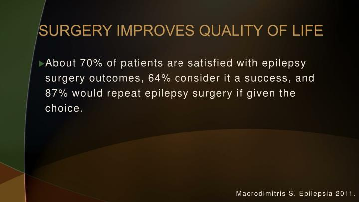 SURGERY IMPROVES QUALITY OF LIFE