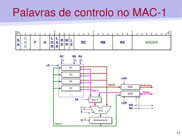 Palavras de controlo no MAC-1