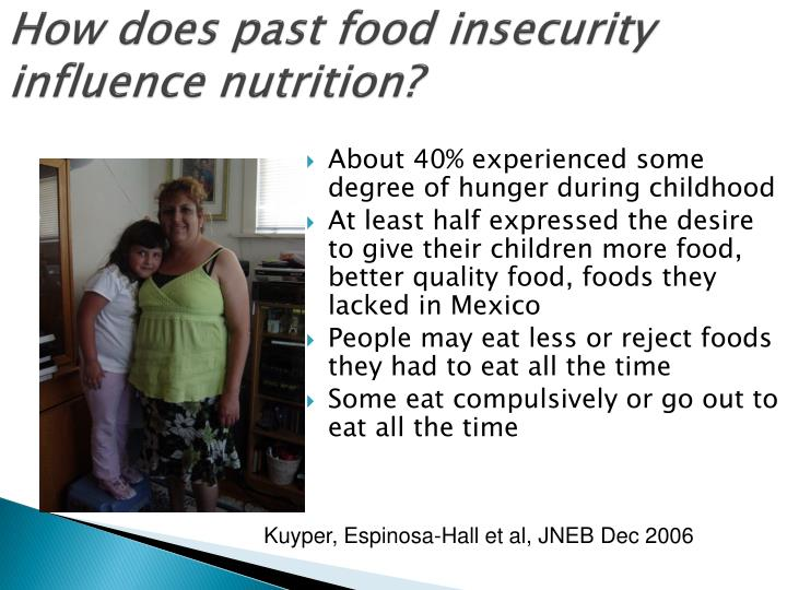 How does past food insecurity influence nutrition?
