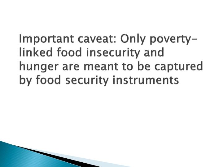 Important caveat: Only poverty-linked food insecurity and hunger are meant to be captured by food security instruments