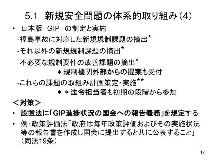 5.1 新規安全問題の体系的取り組み(4)