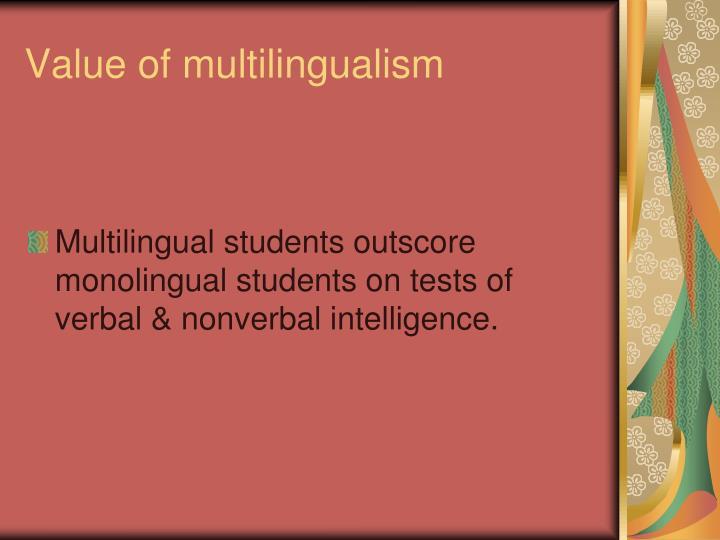 Value of multilingualism