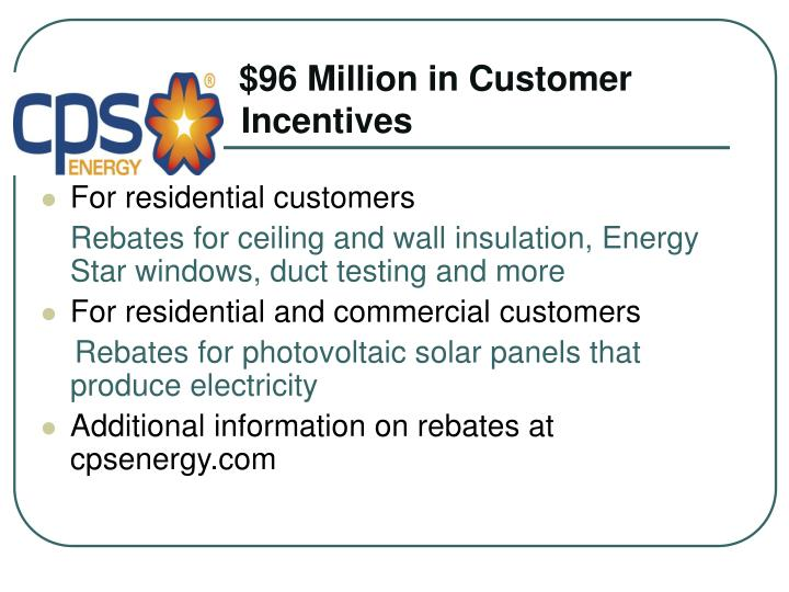 $96 Million in Customer  Incentives