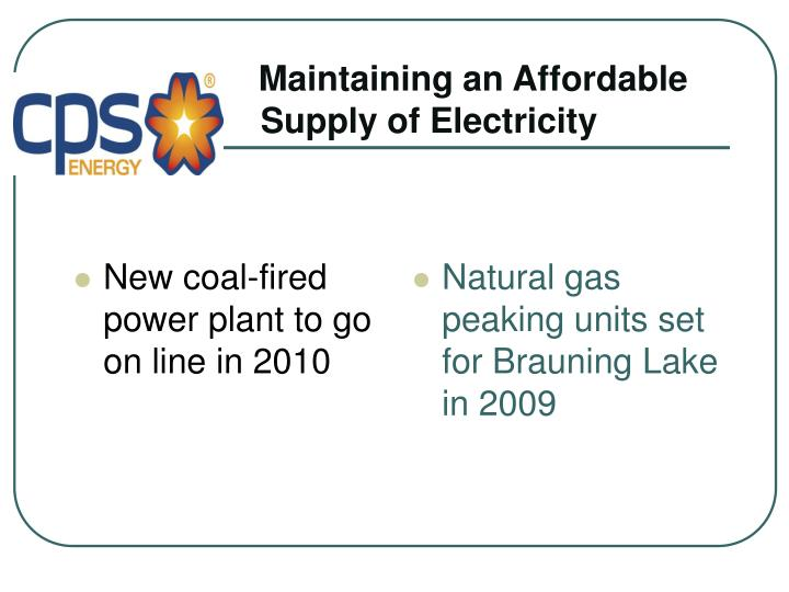 New coal-fired power plant to go on line in 2010