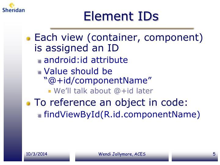 Element IDs