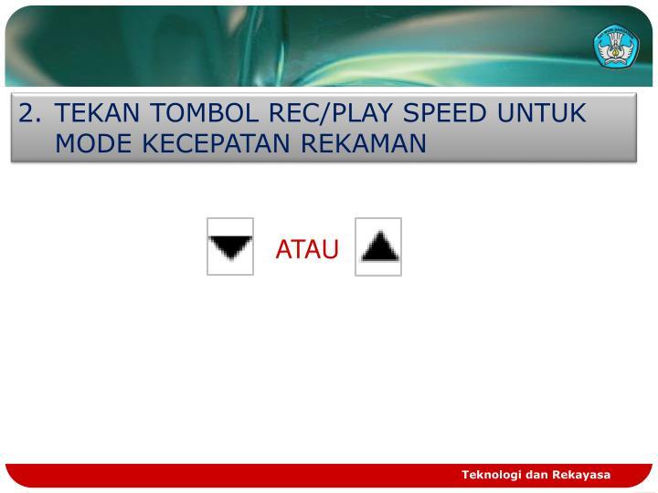 TEKAN TOMBOL REC/PLAY SPEED UNTUK MODE KECEPATAN REKAMAN