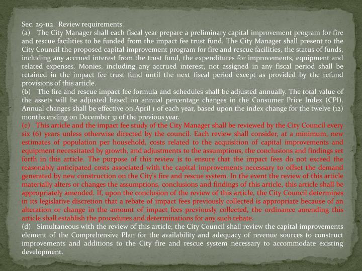 Sec. 29-112. Review requirements.