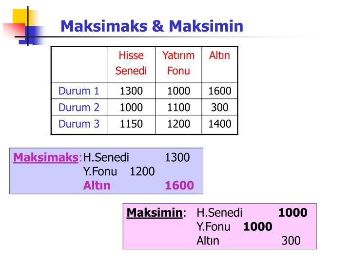 Maksimaks & Maksimin