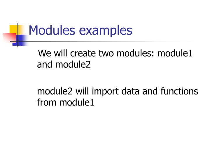 Modules examples