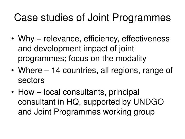 Case studies of joint programmes