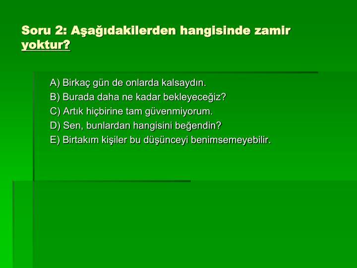 Soru 2: Aşağıdakilerden hangisinde zamir