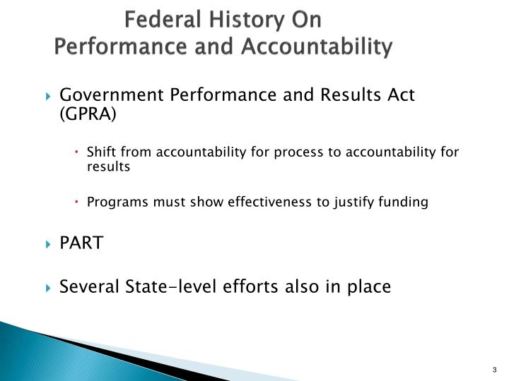 Federal history on performance and accountability