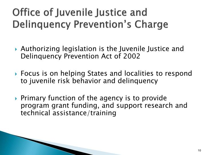 Office of Juvenile Justice and Delinquency Prevention's Charge
