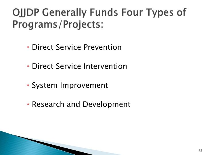 OJJDP Generally Funds Four Types of Programs/Projects: