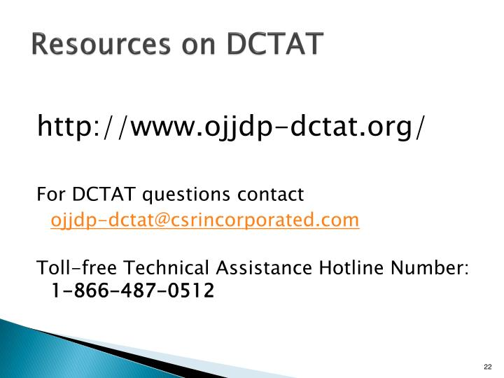 Resources on DCTAT