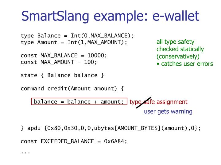 SmartSlang example: e-wallet