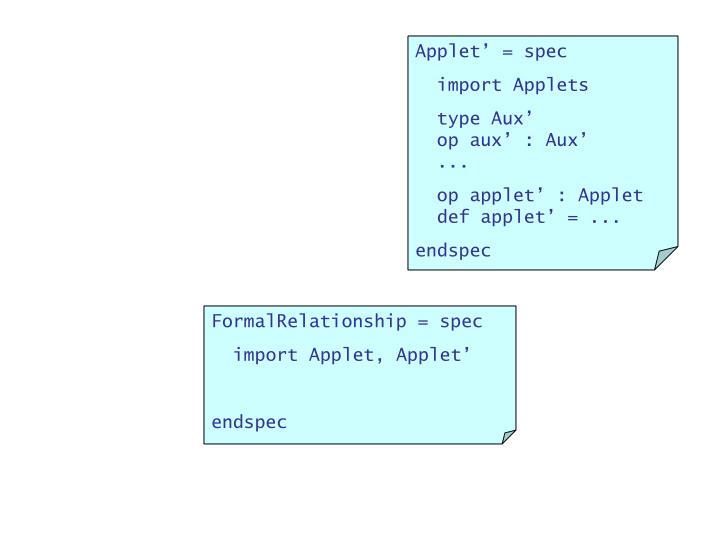 Applet' = spec