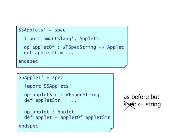 SSApplets' = spec