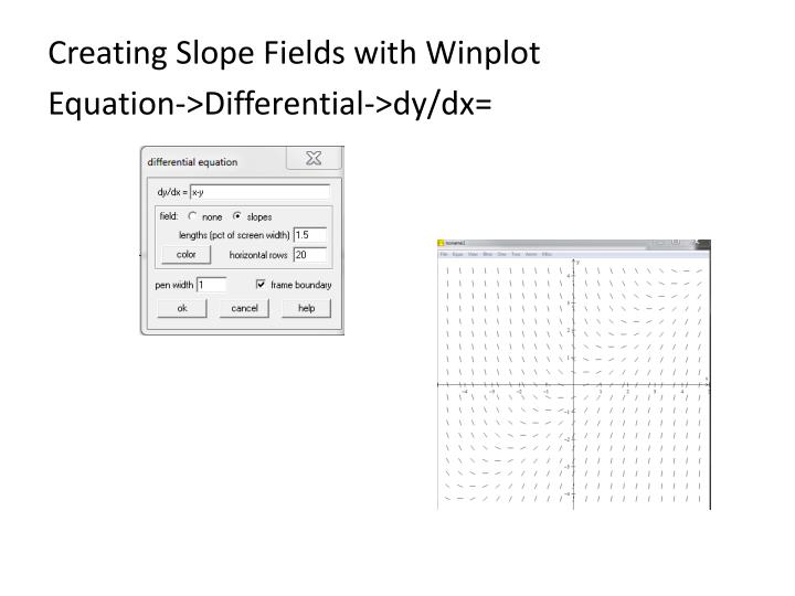 Creating Slope Fields with Winplot