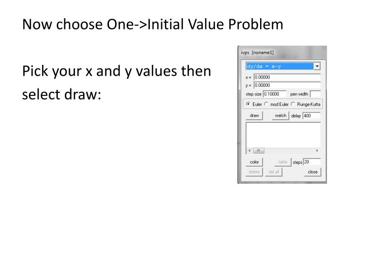 Now choose One->Initial Value Problem