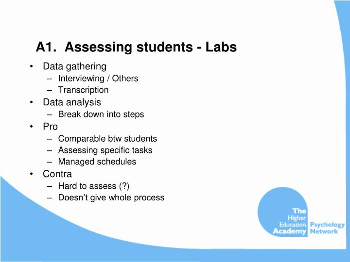 A1.  Assessing students - Labs