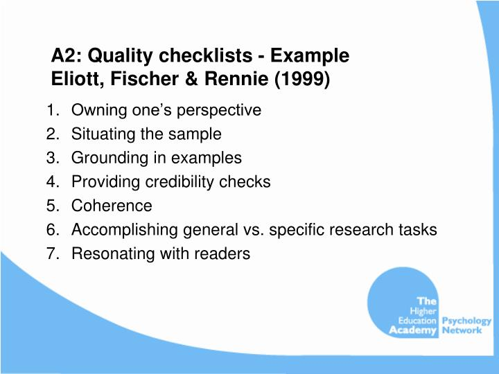 A2: Quality checklists - Example