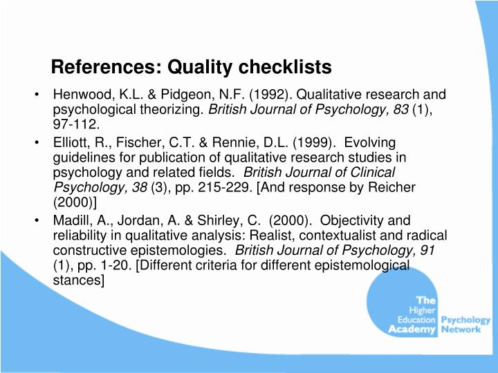 References: Quality checklists
